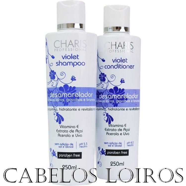 charis - Resenha: Shampoo e Condicionador Violet Desamarelador (Charis Professional)