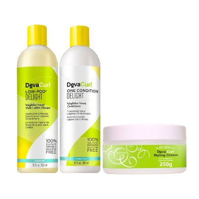 Deva Curl Delight Kit Shampoo Low Poo 355ml e Condicionador One 355ml e Styling Cream 250ml  - Low Poo no cabelo liso funciona?